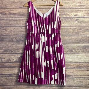 Joe Body Purple White Stripe Dot Sleeveless Dress